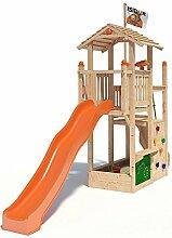 ISIDOR Joshy Spielturm Kletterturm Baumhaus Rutsche Schaukeln (ohne Schaukelanbau, Orange)