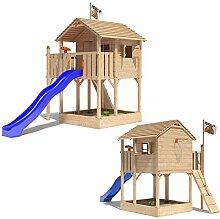 ISIDOR Killimando Spielturm Kletterturm Baumhaus Rutsche Schaukeln (ohne Schaukelanbau, Blau)