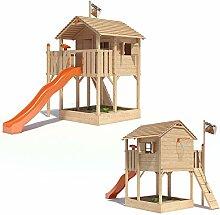 ISIDOR Killimando Spielturm Kletterturm Baumhaus Rutsche Schaukeln (ohne Schaukelanbau, Orange)