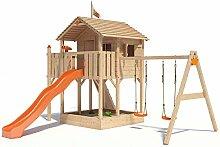ISIDOR Killimando Spielturm Kletterturm Baumhaus Rutsche Schaukeln (einfacher Schaukelanbau, Orange)