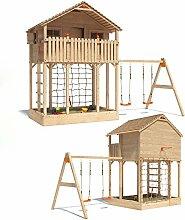 ISIDOR Monturio Spielturm Kletterturm Baumhaus Rutsche Schaukeln (einfacher Schaukelanbau)