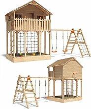 ISIDOR Monturio Spielturm Kletterturm Baumhaus Rutsche Schaukeln (erweiterter Schaukelanbau)