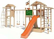 ISIDOR Scooby Spielturm Kletterturm Baumhaus Rutsche Schaukeln (Turm-Schaukelanbau, Orange)