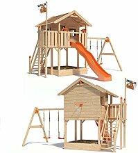 ISIDOR WONDER WOW Spielturm Kletterturm Baumhaus Rutsche Schaukeln Treppe 1,50m (einfacher Schaukelanbau, Orange)