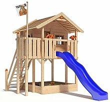 ISIDOR WONDER WOW Spielturm Kletterturm Baumhaus Rutsche Schaukeln Treppe 1,50m (ohne Schaukelanbau, Blau)