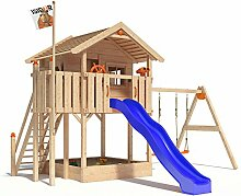ISIDOR WONDER WOW Spielturm Kletterturm Baumhaus Rutsche Schaukeln Treppe 1,50m (einfacher Schaukelanbau, Blau)