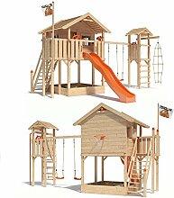 ISIDOR WONDER WOW Spielturm Kletterturm Baumhaus Rutsche Schaukeln Treppe 1,50m (Turm- Schaukelanbau, Orange)