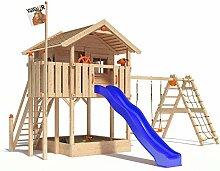 ISIDOR WONDER WOW Spielturm Kletterturm Baumhaus Rutsche Schaukeln Treppe 1,50m (erweiterter Schaukelanbau, Blau)