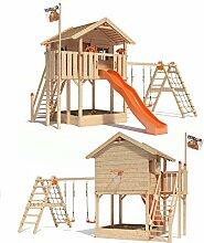 ISIDOR WONDER WOW Spielturm Kletterturm Baumhaus Rutsche Schaukeln Treppe 1,50m (erweiterter Schaukelanbau, Orange)