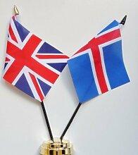 ISLAND und United Kingdom Freundschaft Tisch Flagge Display 25cm (25,4cm)