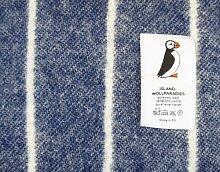 Island Wollp. Jacquard Streifen Wolldecke 135x240 cm - grau weiß