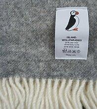 Island Wollp. Jacquard Wolldecke 135x240 cm - grau weiß