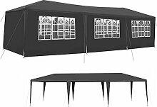 Iso Trade Garten-Pavillon 3x9m inkl. 8 Seitenteile Stabile Metall-Stangen Party #5521, Farbe:Dunkelgrau