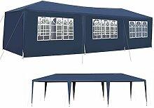 Iso Trade Garten-Pavillon 3x9m inkl. 8 Seitenteile Stabile Metall-Stangen Party #5521, Farbe:Dunkelblau