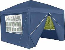 Iso Trade Gartenzelt Garten-Pavillon 3x3M 4 Seitenwände Tür mit Reißverschluss #5120, Farbe:Dunkelblau