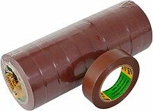 Isolierband 10 Rollen Länge:10m Breite:15mm braun Isoband Elektroinstallation erfüllt VDE, ÖVE und SEV