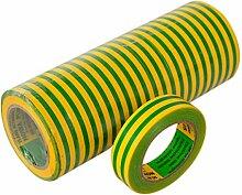 Isolierband 10 Rollen Länge:10m Breite:15mm grün/gelb Isoband Elektroinstallation erfüllt VDE, ÖVE und SEV