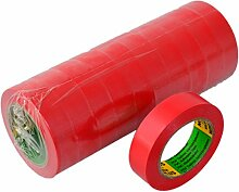 Isolierband 10 Rollen Länge:10m Breite:15mm rot Isoband Elektroinstallation erfüllt VDE, ÖVE und SEV