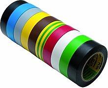Isolierband 10 Rollen Länge:10m Breite:15mm verschiedene Farben Isoband Elektroinstallation erfüllt VDE, ÖVE und SEV