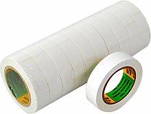 Isolierband 10 Rollen Länge:10m Breite:15mm weiß Isoband Elektroinstallation erfüllt VDE, ÖVE und SEV