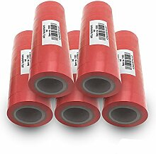 Isolierband 18mm 50x rot 10m je Rolle Klebeband Isolier band Isoband Universal selbstklebendes Klebe Band zum isolieren reparieren elektrischer Leitungen installation kfz ARLI 50 Stück