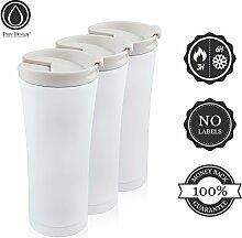 Isolierbecher to go Auslaufsicher 450 ml Matt-weiß. Premium Design Kaffee Thermobecher Edelstahl Schwarz/Weiß. 100% Geld-zurück-GARANTIE