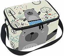 Isolierte Tasche für Mittagessen, Garten, Bär,
