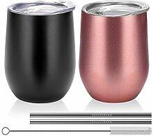 Isoliertes Glas ohne Stiel, 340 ml, Edelstahl,