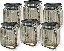 ISOTRONIC LED Glühwürmchenglas Hängeleuchte Outdoor String Laterne Solarleuchte Außenleuchte 6er Set wohltätiges Licht aus Sonnenenergie für Zuhause Garten Balkon Haus Camping Hochzeit Party grün blau ro