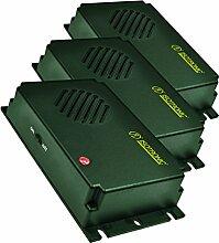 ISOTRONIC mobiler Hundeschreck / Katzenschreck (3er Set) mit Ultraschall für Scheune, Garten, Auto und Garage, besonders hohe Töne, Wechselfrequenz gegen Gewöhnungseffekt, batteriebetrieben