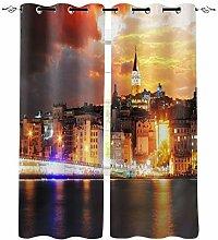 Istanbul City Nachtansicht Fenster Vorhänge für