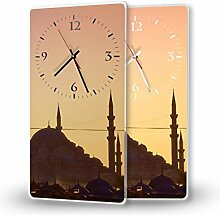 Istanbul - Lautlose Wanduhr mit Fotodruck auf Polycarbonat | geräuschlos kein Ticken Fotouhr Bilderuhr Motivuhr Küchenuhr modern hochwertig Quarz | Variante:30 cm x 60 cm mit weißen Zeigern - GERÄUSCHLOS