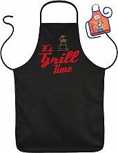 It s Grill Time - Fun Schürze - mit kleiner Mini-Schürze als Präsen