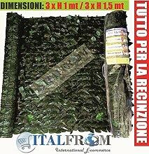 Italfrom Arelle Kunststoffhecke, Efeu, Sonnenschutz, Sichtschutz, Rolle 3 m x 150 cm (Höhe)