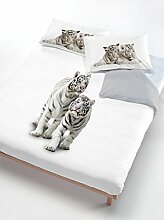 Italian Bed Linen Bettwäsche Tiger grau/weiß 150