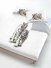 Italian Bed Linen Bettwäsche Tiger grau/weiß 200