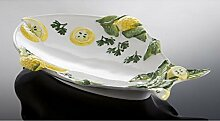 italienische Keramik Fischteller in Fischform weiß 29x20