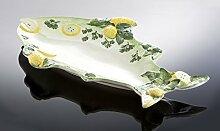 italienische Keramik große Fischplatte in Fischform grün 56x36