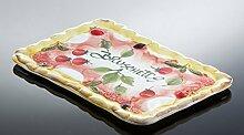 italienische Keramik rechteckiger Bruschetta Teller 35x24 cm