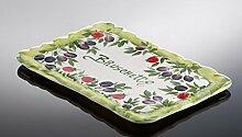 italienische Keramik rechteckiger Bruschetta Teller Olivendekor 35x24 cm
