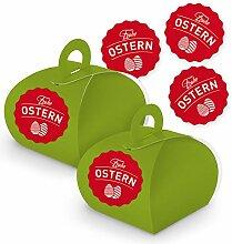 itenga 10 Geschenkboxen mit Griff Ostern Aufkleber