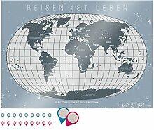 itenga Poster Weltkarte DIN A0 250g mit Schutzlack