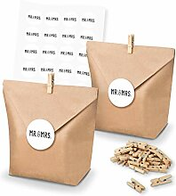 itenga SET Geschenktüten Kraftpapier Mr. & Mrs.