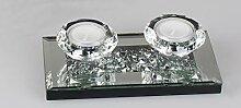 ITRR 2er Teelichtleuchter, Spiegel-Stones; ca.