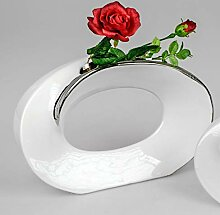 ITRR Formano Vase oval weiß - Silber; ca. 32x22cm