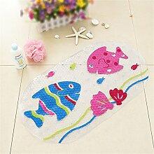 ivalue PVC Badematte Badewanne Duschmatte, rutschfest mit Saugnapf für Kinder, fisch, 39x69cm