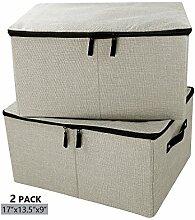 iwill createpro Jumbo faltbare Aufbewahrungsbehälter aus Leinen, gedeckter Kleiderschrank, praktischer Aufbewahrungsbehälter mit Deckel, beige, Packung 2