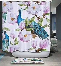 Izielad Rosa Blumen Blau Pfau Stoff Duschvorhang Wasserdichtes Badezimmer Dekor