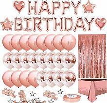 iZoeL Geburtstagsdeko Rosegold Happy Birthday