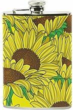 izorax gelb Sonnenblumen Edelstahl Flachmann,